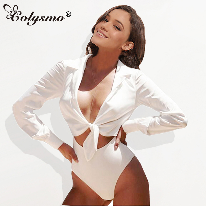 Colysmo Sexy Suit Collar Long Sleeve Open Front Bow Tie Lurex Satin Silk Bodysuit Women Romper Playsuit White New Silky Blouse