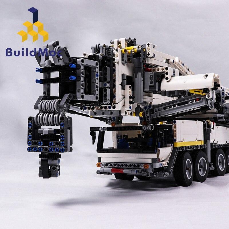BuildMOC nueva potencia grúa móvil construcción LTM11200 RC LiebherrTechnic Motor Kits bloques cumpleaños regalo C104-in Bloques from Juguetes y pasatiempos    2