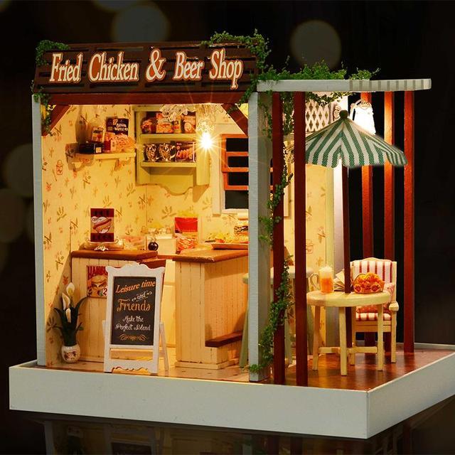 Handmade Doll House Furniture Miniatura Diy Doll Houses Miniature Dollhouse Wooden Toys For Children Grownups Birthday GiftZ006