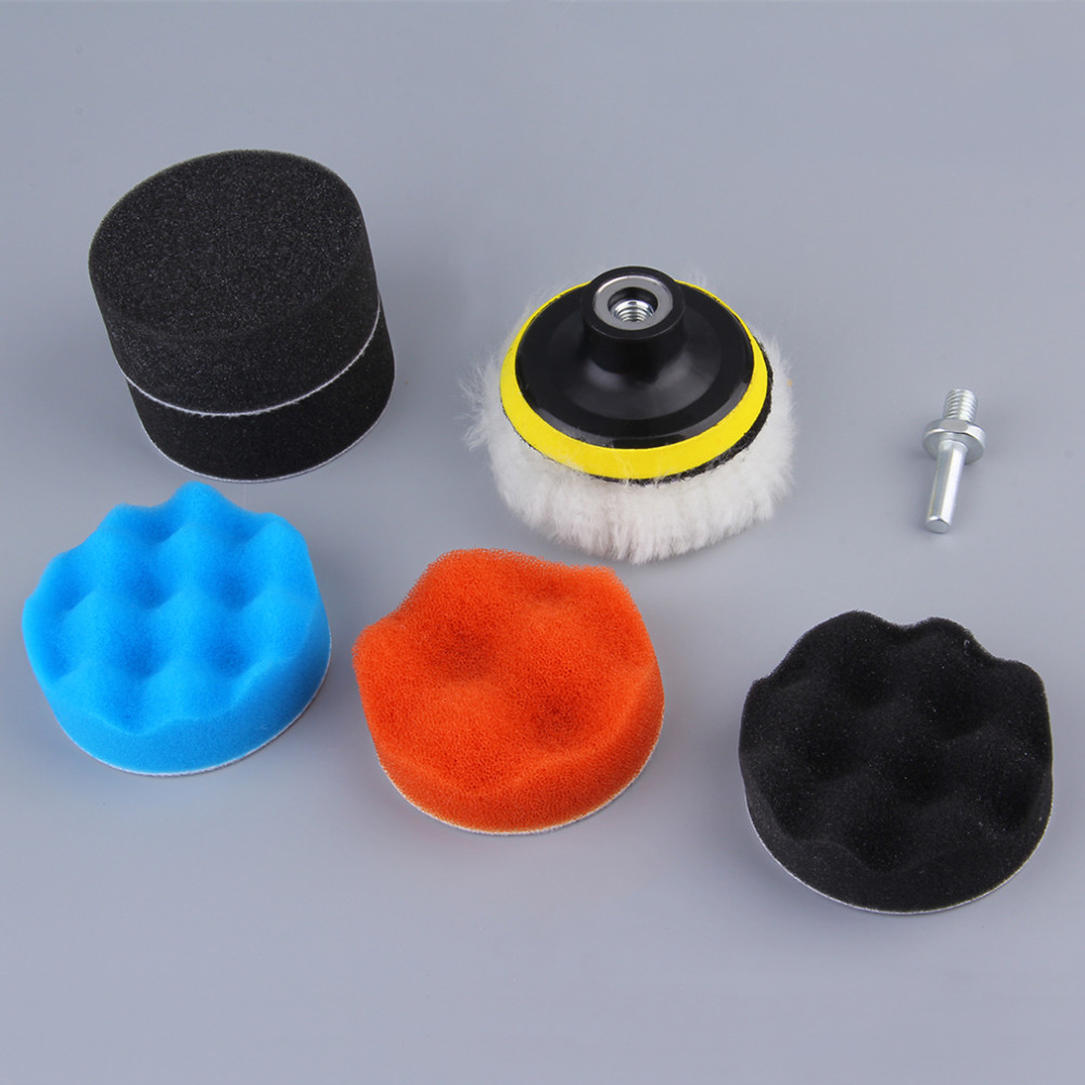 7 pçs 8 cm polimento kit almofada de polimento para carro automático roda polimento kit buffer com adaptador broca carro remove arranhões