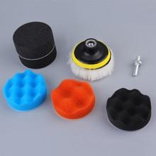 7pcs 8 CENTÍMETROS Polimento Polimento Pad Kit para Carro Auto Roda de Polimento Tampão Kit Com Adaptador de Broca Carro Remove arranhões