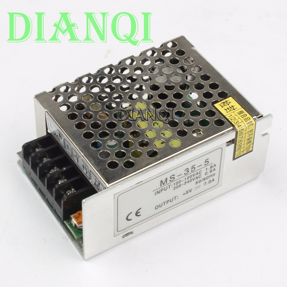 DIANQI power supply unit 35W 5V 7A power suply 35W 5V mini size din led  ac dc converter ms-35-5 pwm led ac dc 35w 5v 7a stable high efficient power converter silver