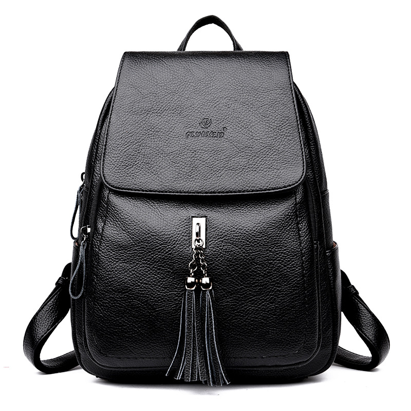 Vintage Leather Backpack Women Female Pu Leather Backpack Tassel Soft Back Back Bagpack Sac A Dos Femme