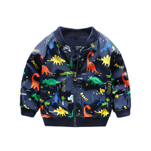 Fashion V-Neck Baby Boys Jackets Dinosaur Printed Child Coat Children Outerwear For Height of 80-130cm