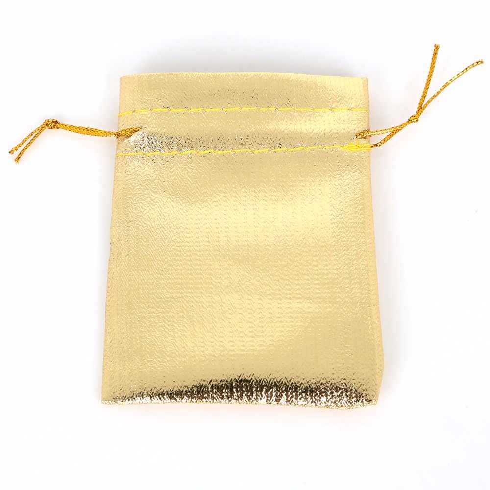 10pcs di Colore Oro Argento Metallico Foglio di Organza Borse multiuso di Natale Festa di Nozze Bomboniere Regali Candy Borse 7x9/ 9x12/10x15/13x18cm