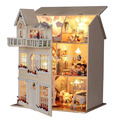13812A Hongda large diy wooden dollhouse villa doll house voice LED lights miniature model toys girls