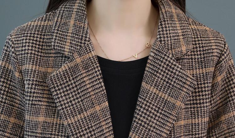 Plaid De Laine Col 2018 Femelle jaune Long Nouveau Manteau Femmes Kaki Mode Veste Wertuiop Survêtement Tailleur Printemps Hdw5q1H