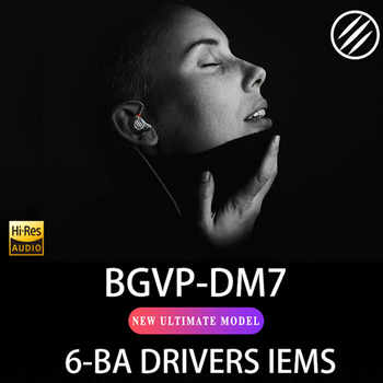 BGVP DM7 6 Balanced armature In-Ear Earphone Metal High Fidelity Monitor With Detachable MMCX Cable DMG DM6 DMS AS16 AS12 T2 DS3