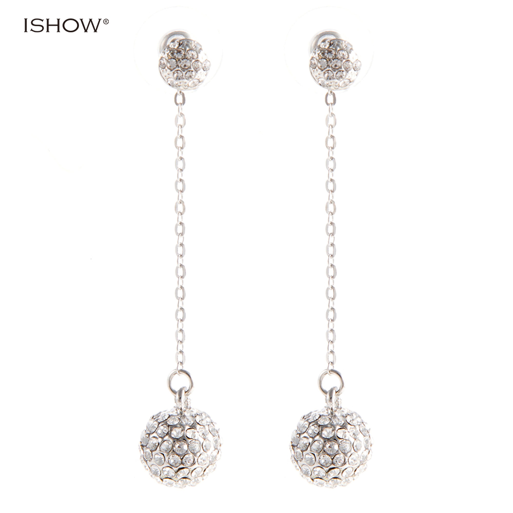 Christmas Gifts 6.2 Cm Luxurious Silver Chain Ball Bride Earrings Bridal Statement Jewellery Vintage Crystal Wedding Earrings