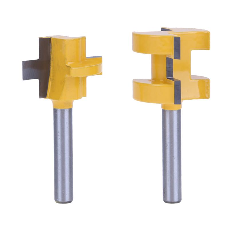 Brand New 2Pcs 2.36 x 0.98 x 0.98in 1/4'' Handle Hard Alloy Milling Cutter Shank Tongue & Groove Router Bit Set Woodworking Tool high grade carbide alloy 1 2 shank 2 1 4 dia bottom cleaning router bit woodworking milling cutter for mdf wood 55mm mayitr