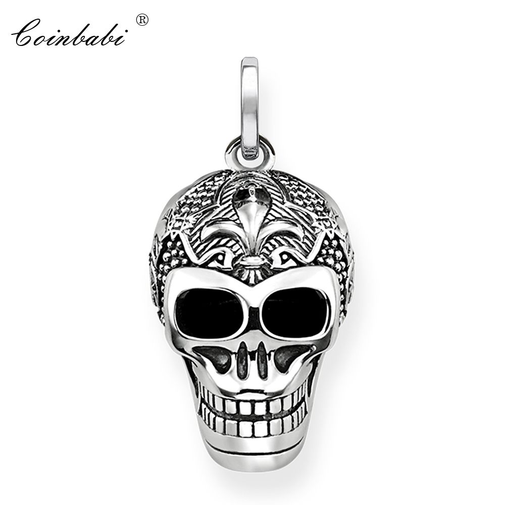 Pendant Lily Skull Skeleton 925 Sterling Silver To Men Punk Heart Jewelry Fashion Rebel Thomas Key Chains Pendant Fit Necklace