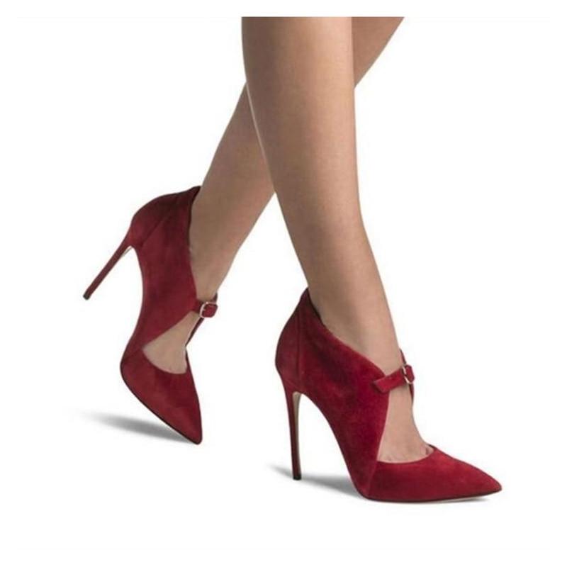 Noir Daim Chaussures En Femme Dames Noir rouge 2019 Pointu Stilettos Sexy De Femmes Bout Soirée Pompes Hauts Élégantes Sangle Talons Printemps Boucle w57qEt