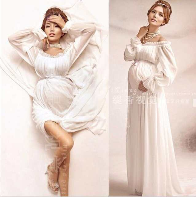 0b33a9d17f8 placeholder 2018 Royal Style White Maternity Lace Dress Pregnant Photography  Props Pregnancy maternity photo shoot long dress