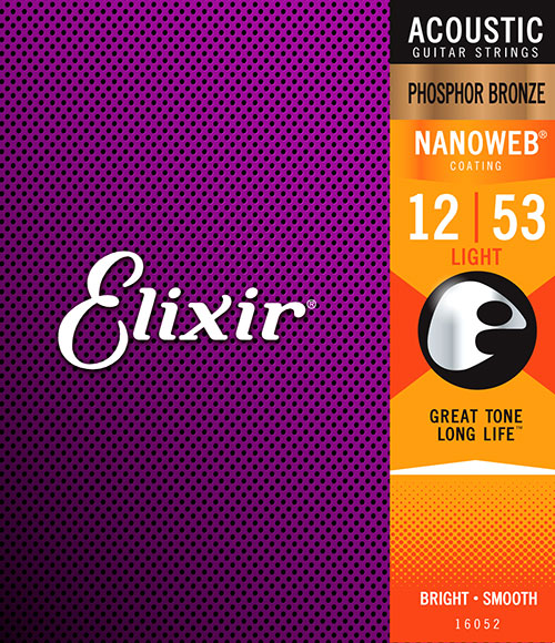 Elixir Original 16052 Acoustic Phosphor Bronze With NANOWEB Coating Light 12-53