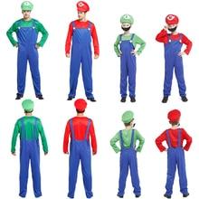 Горячая Super Mario Bros Косплэй костюм комплект, Детский костюм на Хэллоуин, костюм для детей Марио и Луиджи для детей и взрослых