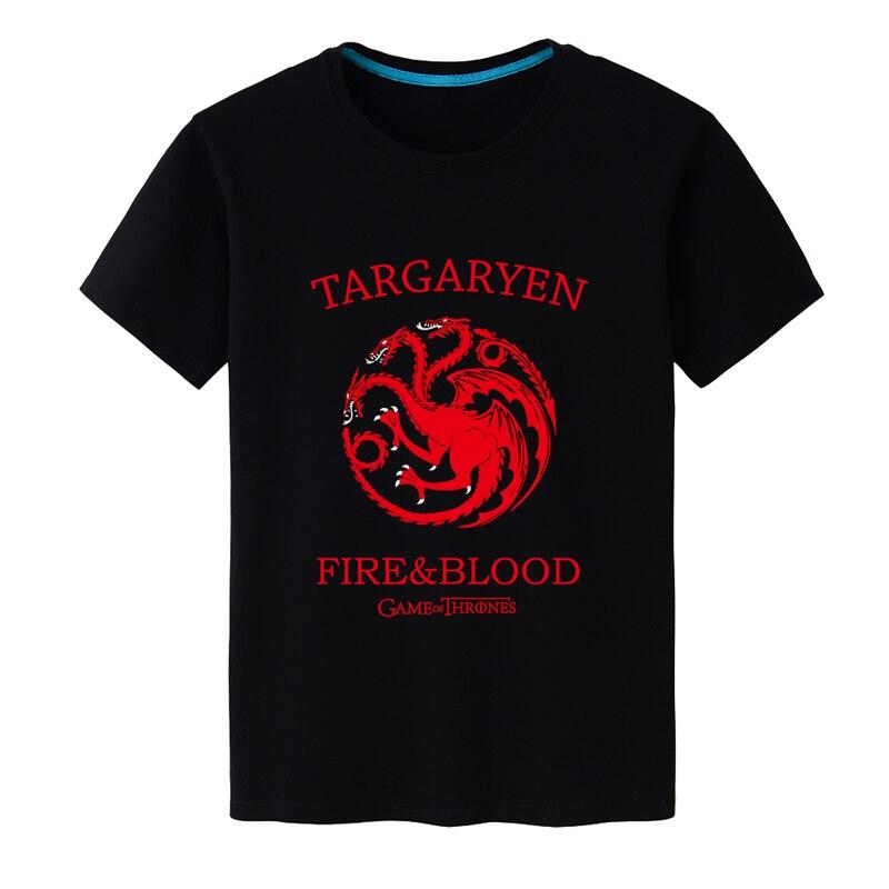2017 Summer Hot Men T-Shirt Game of Thrones Targaryen Fire & Blood tshirts Men Cotton Short Sleeve Shirt Tee