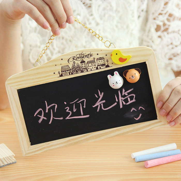 Hanging Double-sided Magnetic Mini Wooden Message Board Creative Notice Promotional Advertising Hanging Message Board