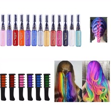 13 Colors Easy To Use Hair Color Pink White Grey Purple Blue Hair Dye Chalk Design Crayons Temporary with Comb