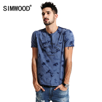 SIMWOOD 2017 Spring Summer New Arrival Print Letter T Shirts Men Casual Tees 100 Cotton Plus
