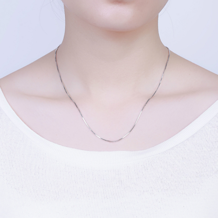Real 925 Sterling Silver Handmade Fine Jewelry Fashion Slim Box Chain Necklaces For Women Silver Chain Jewelry Collier