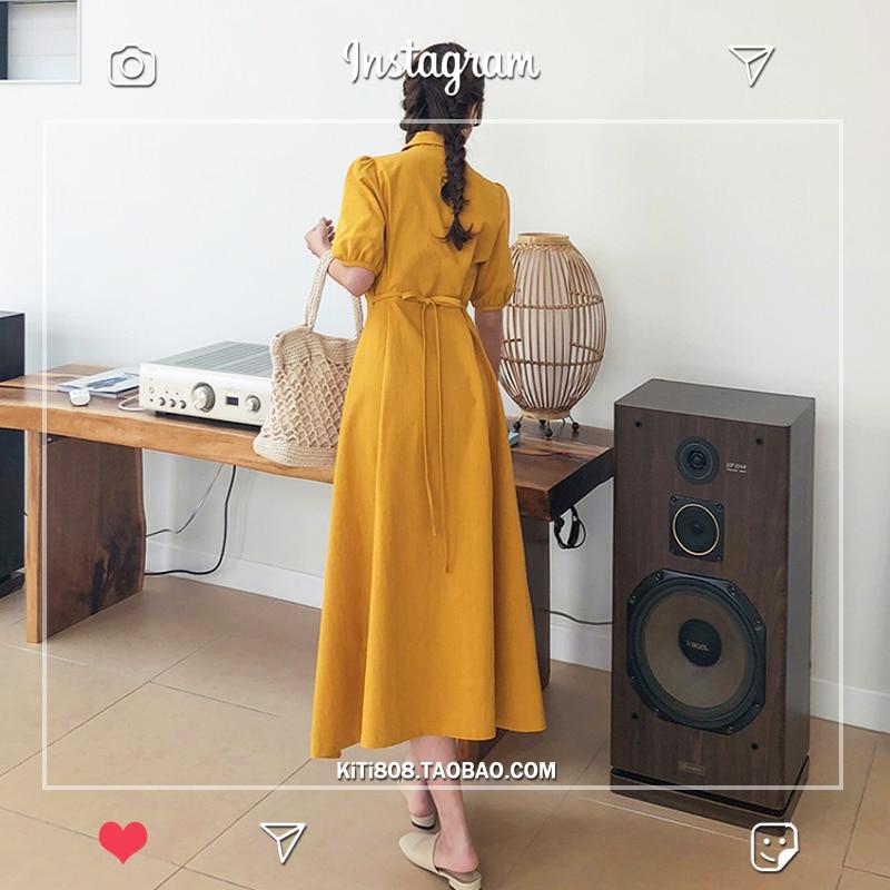 Retro Lady Style a Line Long Dress Puff Sleeve Slim Waist Long Dress Summer Elegant Robe Longue Vestido Largo Vestiti Lunga 4
