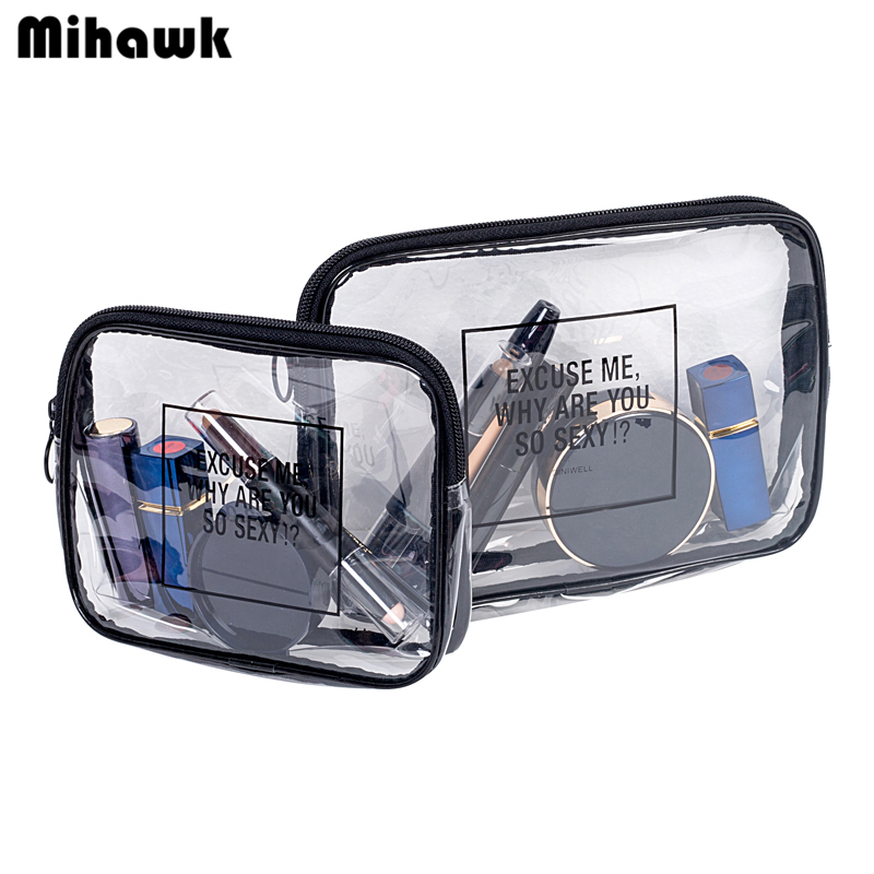Mihawk PVC Transparent Mini Cosmetic Organizer Bag Waterproof Clear Pouch Makeup Bags Cosmetic Beauty Accessories Supply Product mihawk color transparent pvc cosmetic bag korean style markup bags travel multifunctional accessories women s wash accessories
