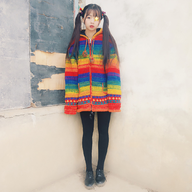 Livraison gratuite 2019 arc en ciel droit 100% laine femmes grande taille M 2XL Vintage Indie Folk épais chaud polaire fabriqué à la main chandails-in Cardigans from Mode Femme et Accessoires    2