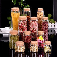 Large Glass Storage Bottles With Corks Candy Saffron Food Jars Transparent Clear Empty Health And Eco