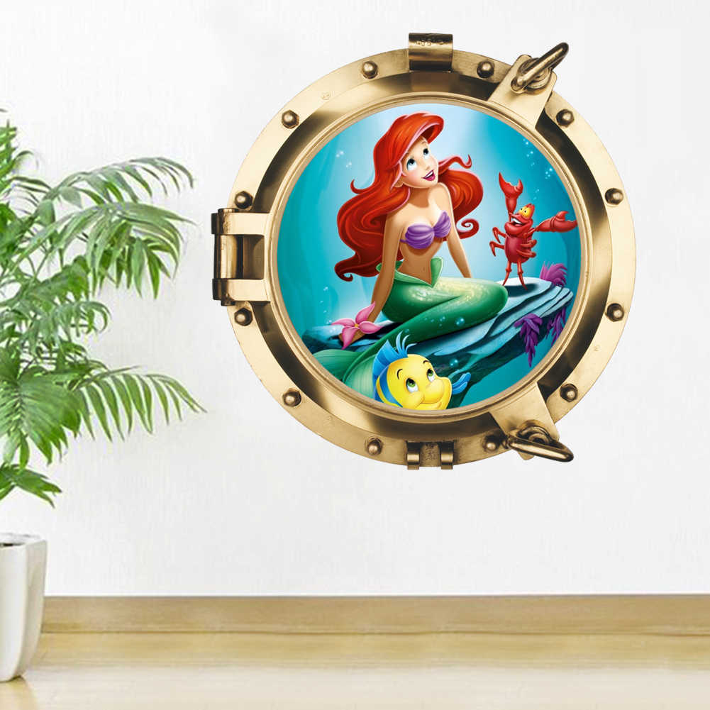 seabed submarine Mermaid Princess window Wall Stickers For Kids  Room Decor Decals Self Adhesive Posters