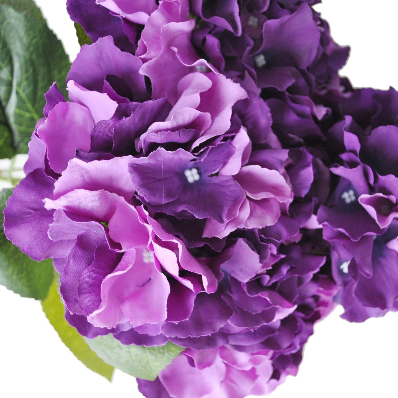 Fjsartificial Hydrangea Flower 5 Big Heads Bouquet Diameter 7