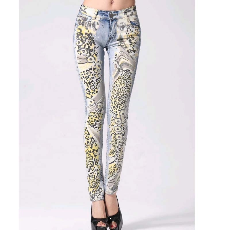 Promotion Fashion jeans woman Casual Pencil pants Girl Washed Leopard printing Pattern Skinny Long women Jeans