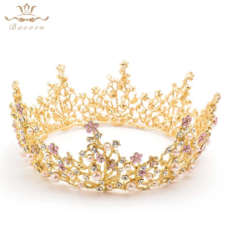 European Gold Round Brides Tiaras Crowns Pearls Crystal Baroque Plated Pink Rhinestone Hairbands Wedding Hair Accessories все цены