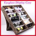 12B Oxford Leopard Black Eyeglass Eyewear Sunglasses Storage box Case Tray Display Hold12pcs of sunglasses free shipping