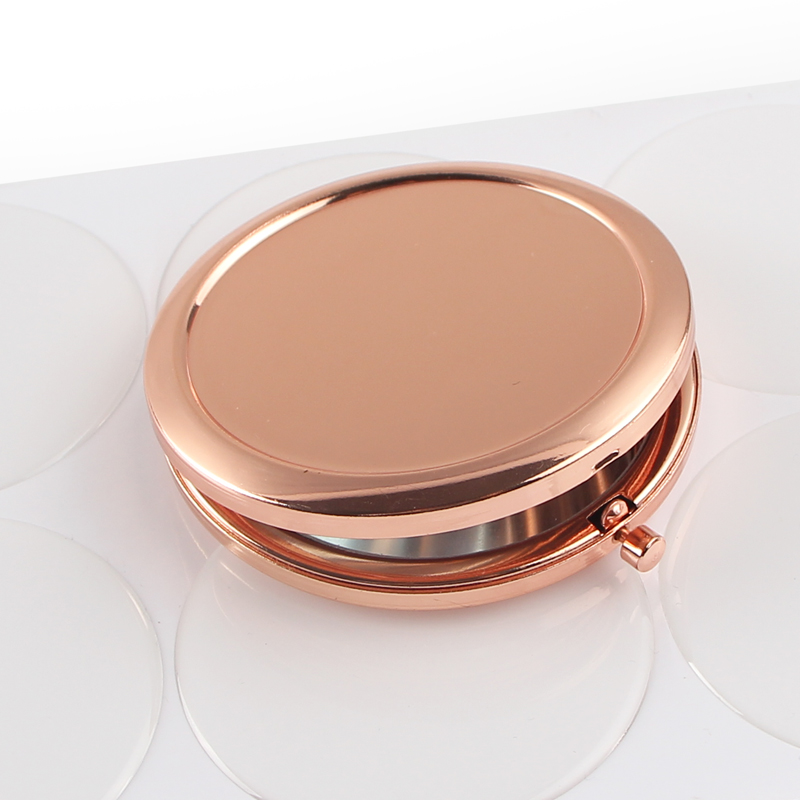 Round Mirror Compact Blank Plain rose gold Colour For DIY gift mirror (4)