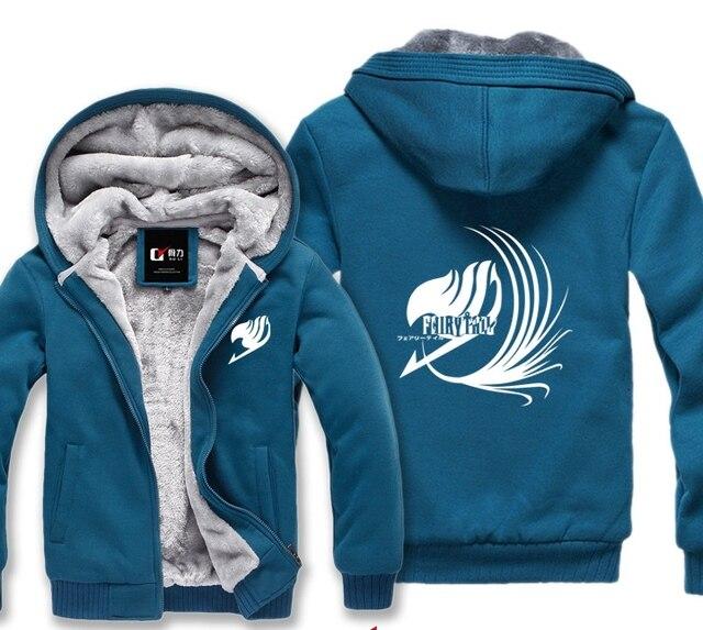 Fairy Tail Зима Капюшоном Толстовка Мужчины Милые Случайные Мужской Куртки С Капюшоном Плащ Платок Человек Ткань Согреться