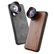 Leather/Wooden Phone Case for iPhone X XS Max Case Cover Shell w Wide-angle Telephoto Fisheye Lens for iPhone 7 8 Huawei P20 Pro недорого