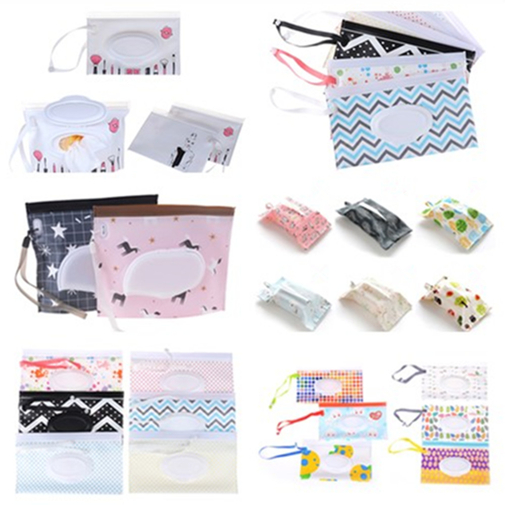 1PCS Portable Baby Wet Wipes Storage Bag Stroller Carrying Case Easy Carry Snap Strap Wipes Container Clamshell Cosmetic Pouch