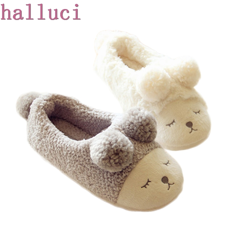 2018 New Winter Home Slippers Women House Shoes For Indoor Bedroom House Warm Plush Slippers Adult Cute Sheep Animal Flats cute sheep animal cartoon women winter home slippers for indoor bedroom house warm cotton shoes adult plush flats christmas gift