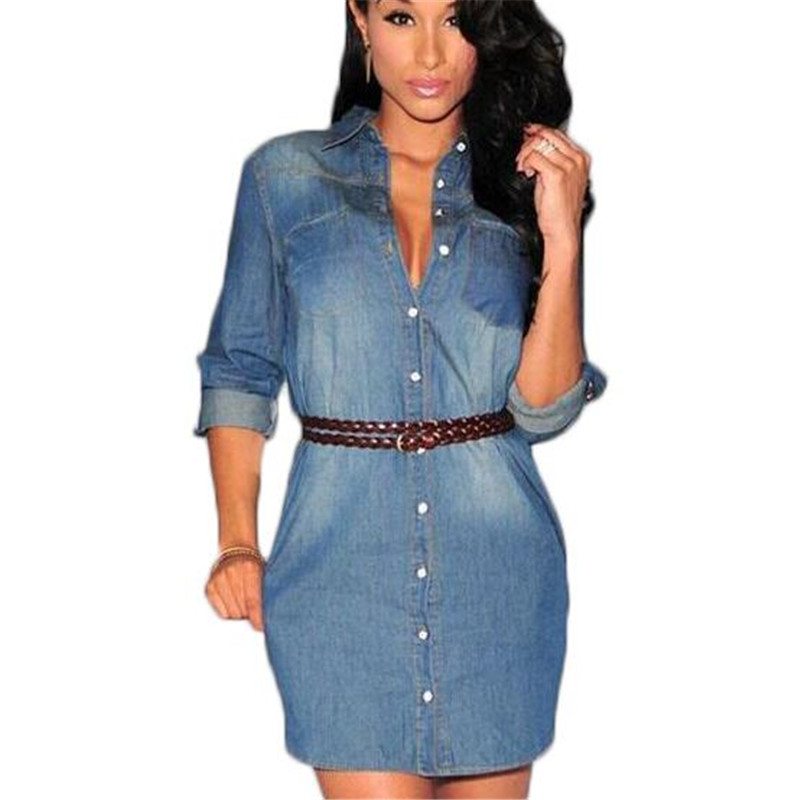 summer 2016 denim dress jeans women vintage dresses casual