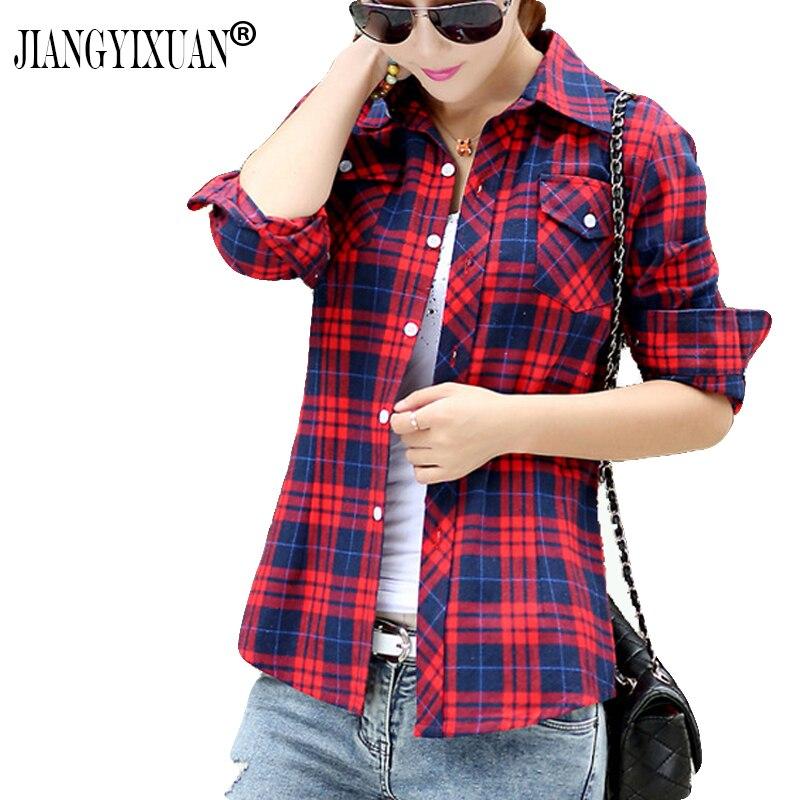 JIANGYIXUAN Casual Button Down Lapel Neck Plaids Checks Flannel   Shirts   Women Long Sleeve Tops   Blouse   free shipping S-144