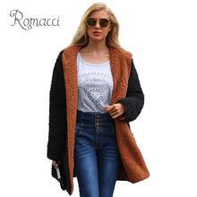 34ae949eeb Romacci Mulheres Casaco Com Capuz de Lã Cashmere Grosso Casaco de Lã Quente  para As Mulheres Da Frente Aberta Outono Inverno des.