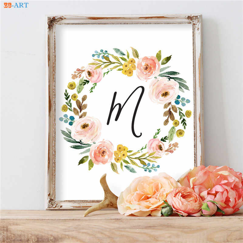Flowers Floral Canvas Painting Quote Poster Print Nursery Wall Art Canvas Framed Wall Pictures for Living Room No Frame