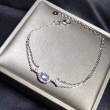 Браслет из натурального лунного камня, синий лунный камень, простой и изысканный браслет, горячие продукты