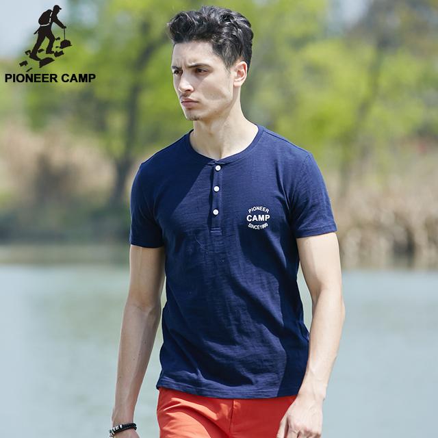 Pioneer campamento 100% algodón marca de ropa cartas impresa camiseta del o-cuello Homme delgada suave camiseta del hombre para Big And Tall 3Xl 622033