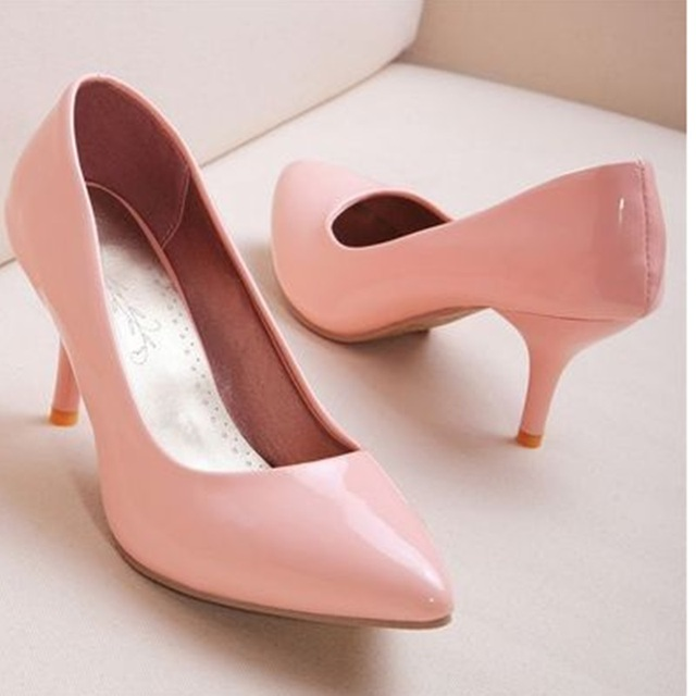 53aac7e7ea7e Lady s Plain Med Heel Flower Insole Comfortable Plus size 42 43 45 Thin  High heels Pointy Shoes Women Pumps Stiletto OL Fashion
