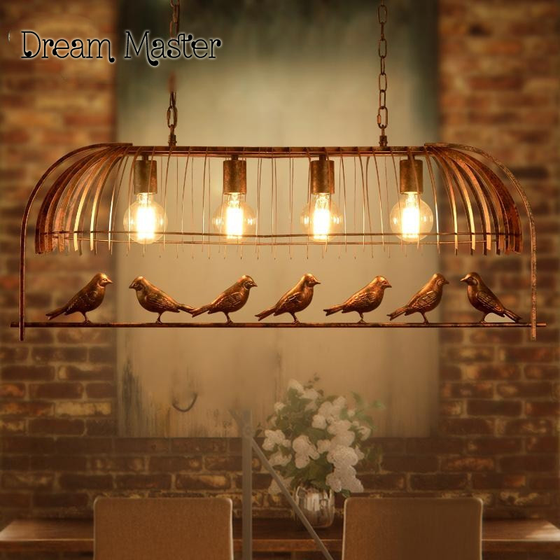 Iron individuality originality cage lamp coffee bar restaurant study American style retro simple bird Chandelier Postage free