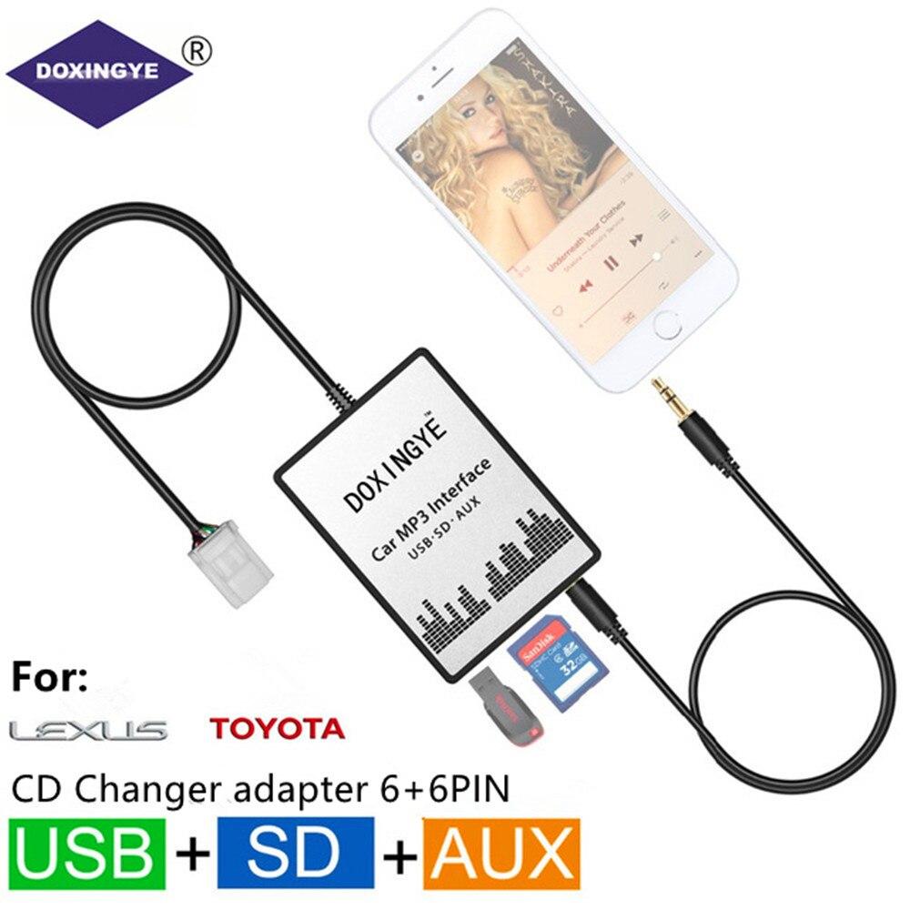 DOXINGYE USB SD AUX Voiture MP3 Musique Radio Numérique CD Changeur Adapte Pour Toyota Lexus Scion Camry Corolla 6 + 6PIN Interface