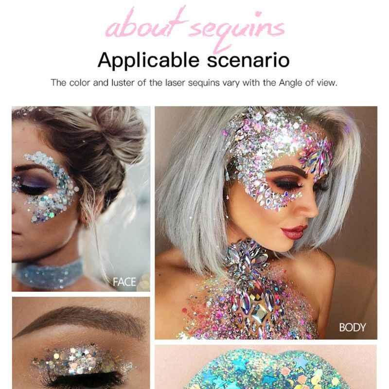 35g Holographic Glitter Corpo Gel Cosméticos Shimmer Flocos de Lantejoulas Paillette Mista Rosto Maquiagem Lábios Cabelo Decoração Do Partido Do Festival
