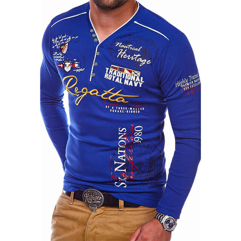 ZOGAA mannen Nieuwe Slim Lange mouwen Comfortabele POLO Shirt Europa en De Verenigde Staten Creatieve Afdrukken mannen kleding