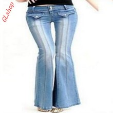 Spring Fashion Hot Women's low waist jeans bell bottoms wide leg trousers long pants size New 26 27 28 29 30 32